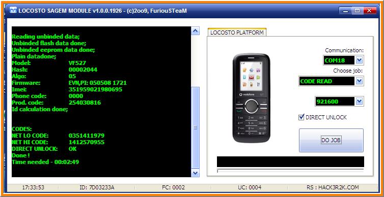 تم فك شفرة جهاز Vodafone 527 بنجـــاح