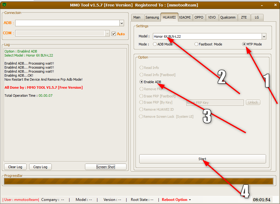 huawei BLL-L21 Remove FRP By MMO TOOL