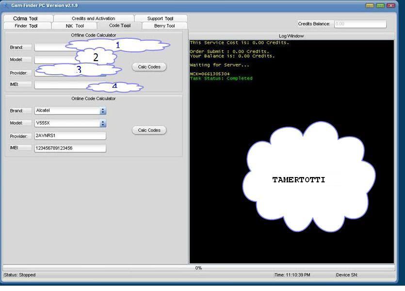 كيفيه استخدام code tool فى الواجهه الخاصه ب gsm finder