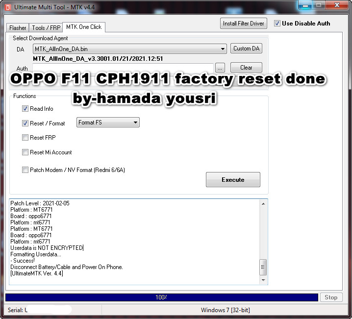 OPPO F11 CPH1911 factory reset done