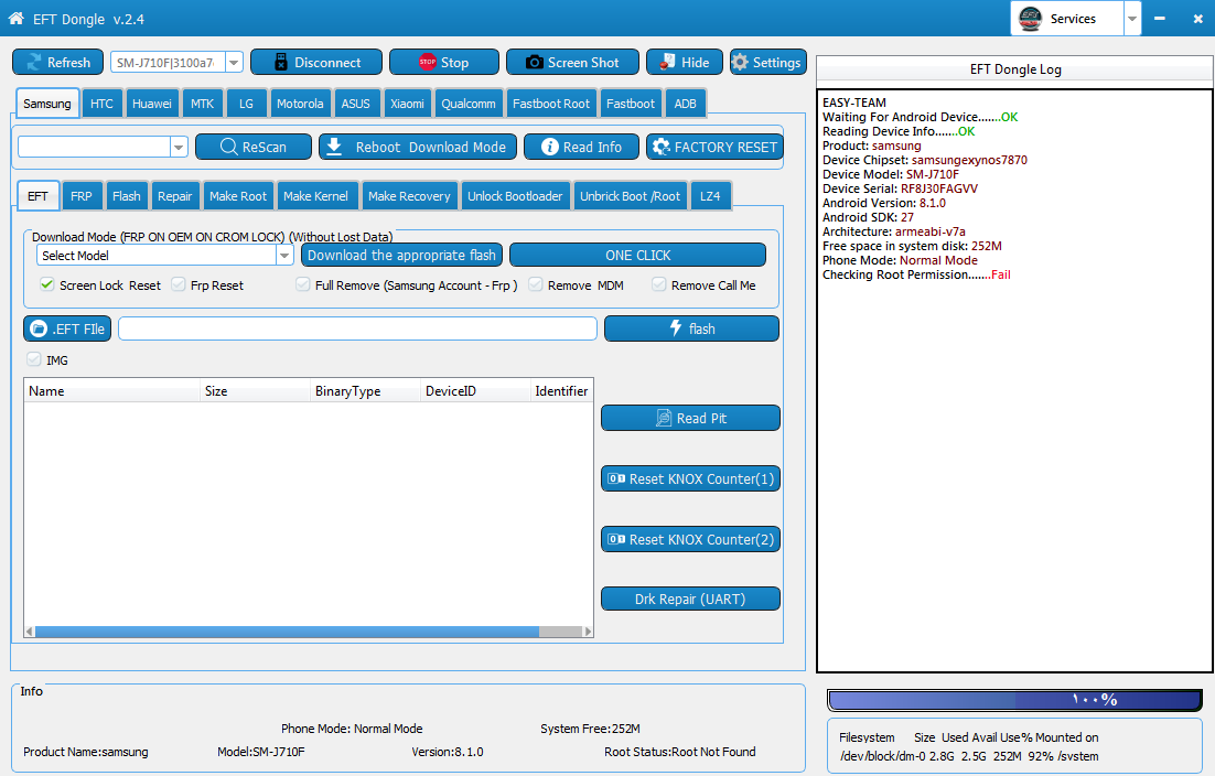 عمل روت لجهاز سامسونغ J7 2016 J710F اصدار اندرويد 8.1.0 حماية 5