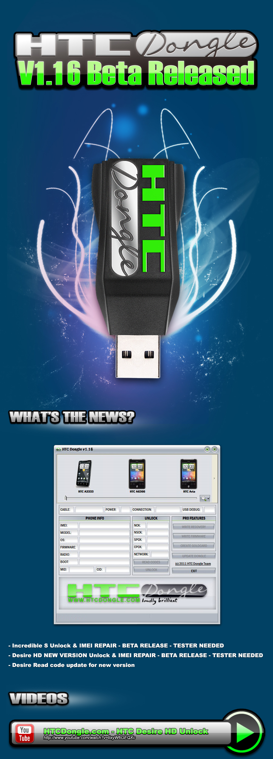 HTCDongle 1.16Beta Released! HTCDesire HD & Incredible S added!