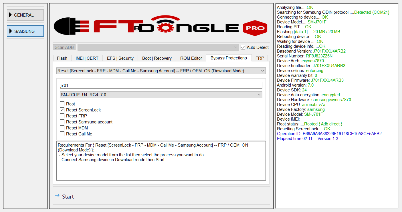 SM-J701F U4 7 0 FRP on Reset screen lock done 1 click by EFT