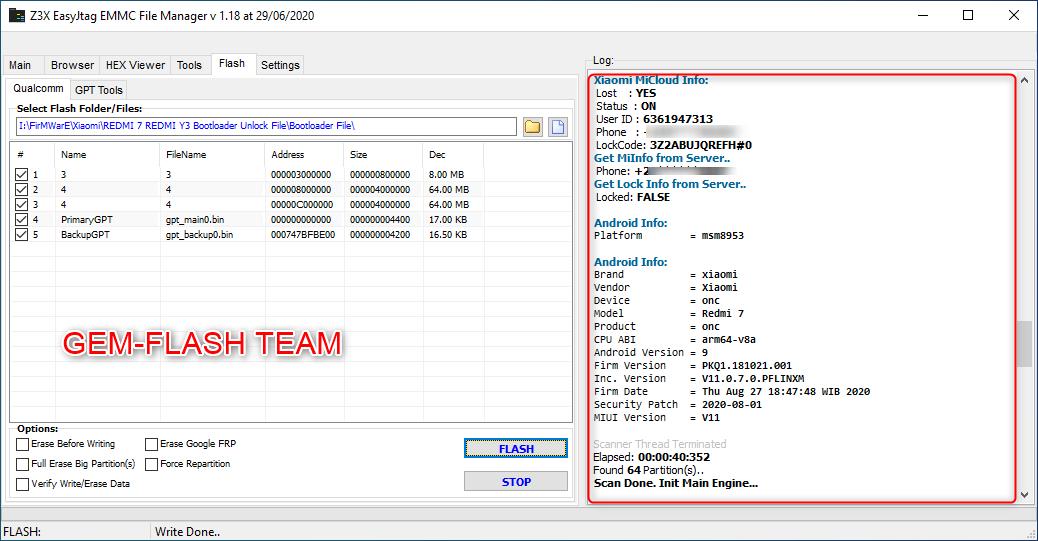 REDMI 7 UNLOCK BOOTLODER BY Z3X Emmc Manager