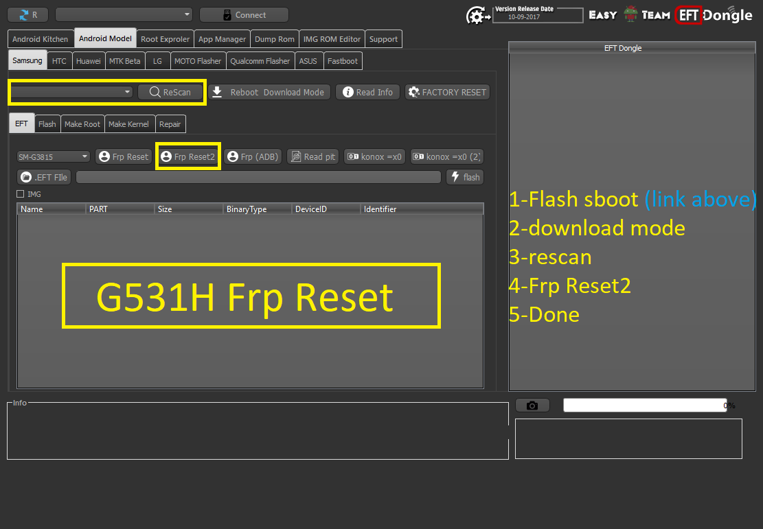 How to FRP Reset Galaxy G531H Via EFT Dongle ! - GSM-Forum