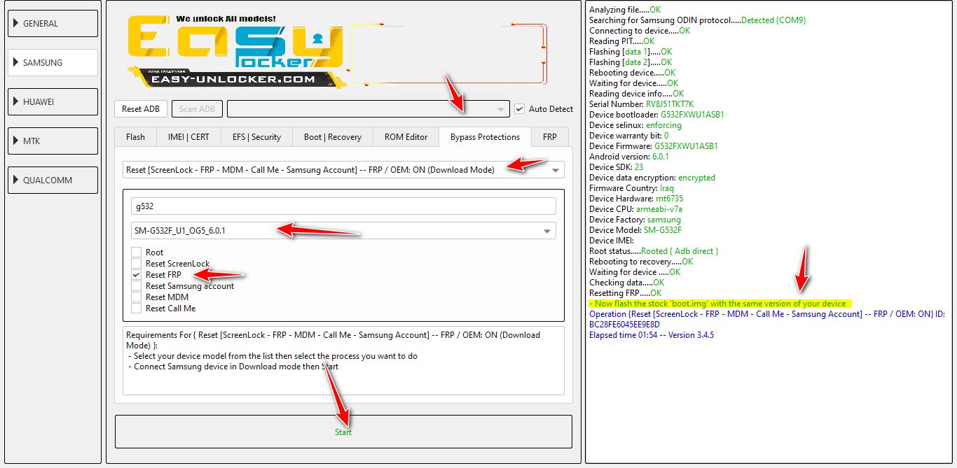 G532F FRP reset via EFT Pro