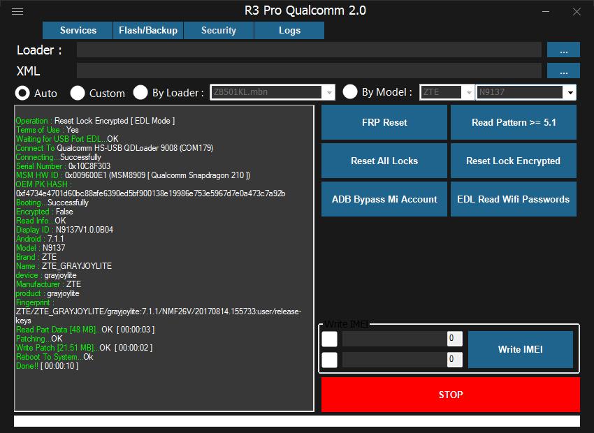 حصري حذف قفل أجهزة كوالكوم بدون حذف بيانات / بيانات مشفرة ZTE N9137
