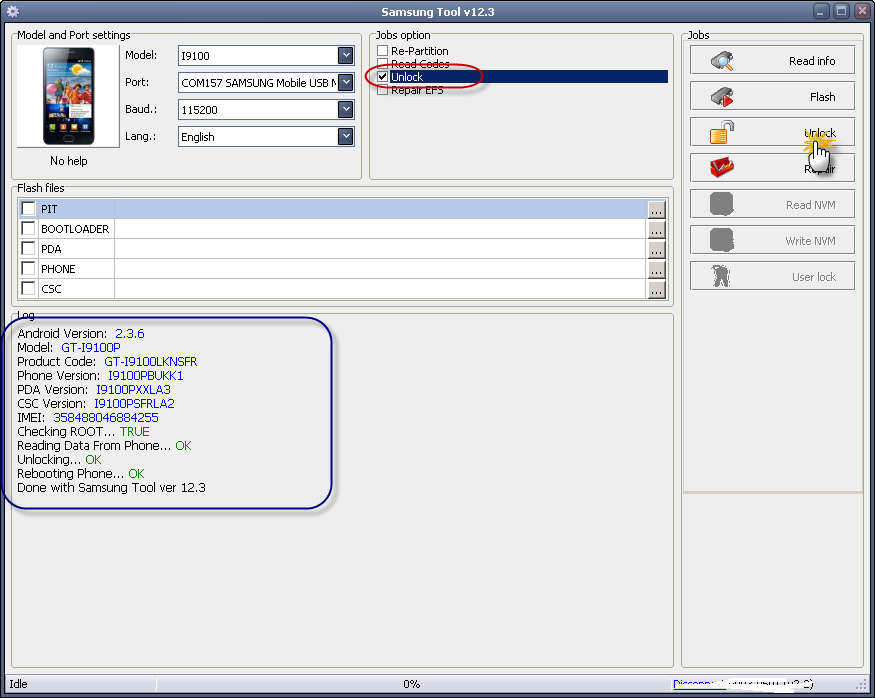 طريقة عمل روت وفك شفرة i9100P على Z3X