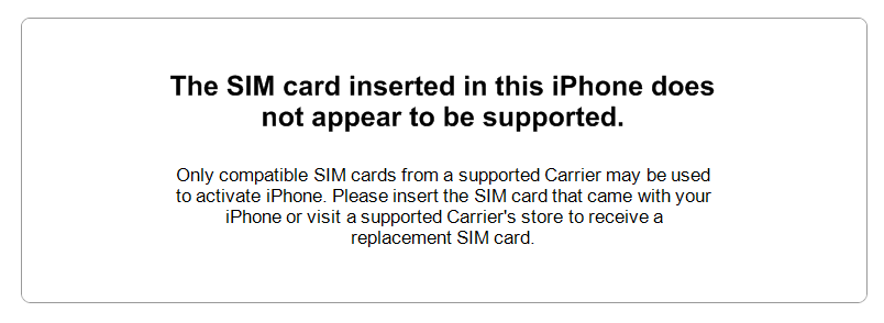 the sim card is not suppoted