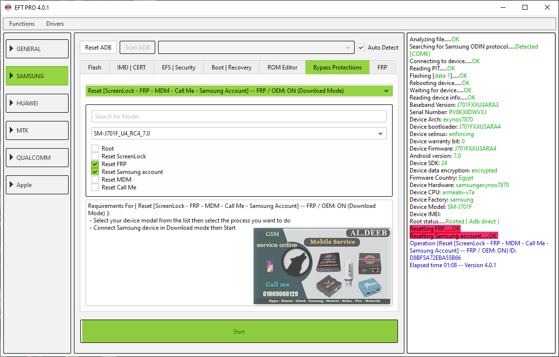 remove frp and samsung account j701f 7.0 u3