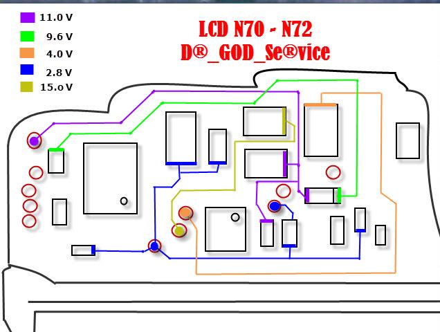 مخطط التوصيلات والفولتيات بالشاشة الكريستال لنوكيا n70
