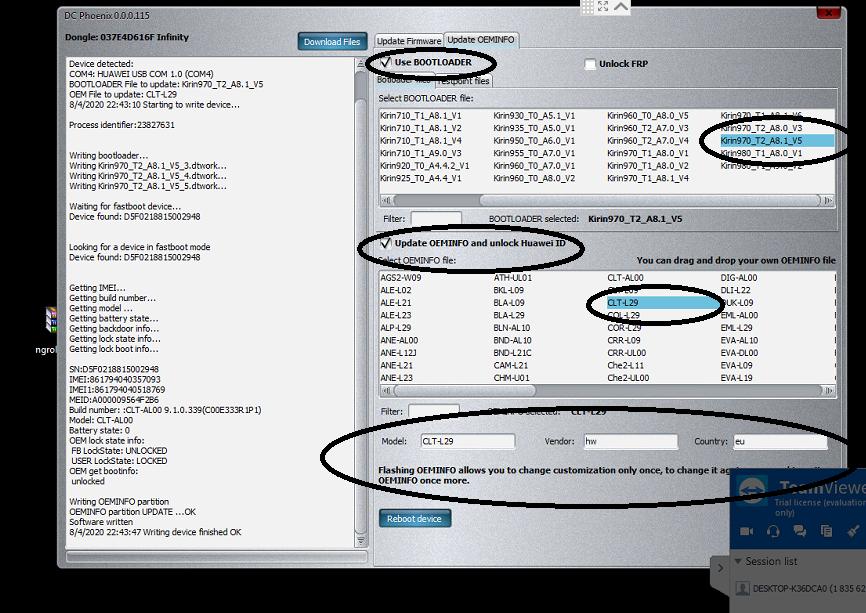 كيفية تحويل اجهزة هواوى من صينى الى جلوبل وازالة REMOVE HUAWEI ID وحصرى تحويل  CLT-AL00 الى CLT-L29 وازالة هواوى ID