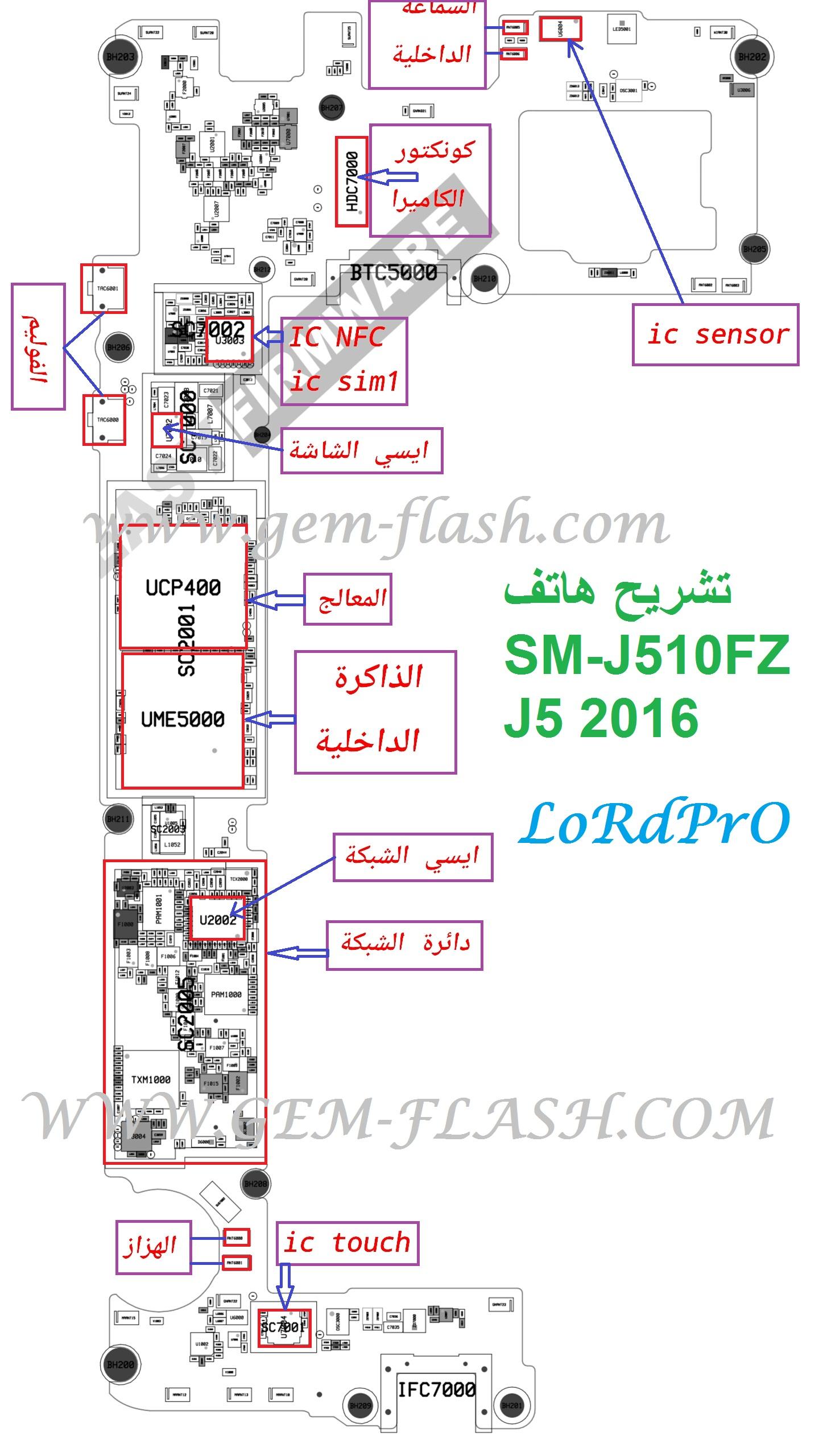 تشريح هاتف SM-J510FZ J5 2016