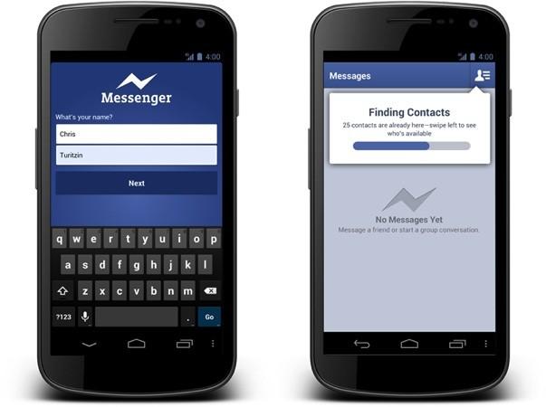 تحديث لتطبيق المحادثات عبر الفيسبوك يسمح لك بأدخال الأسم ورقم هاتفك فقط لهاتفك الأندر
