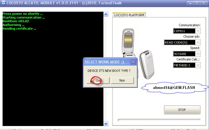 فك شفرة Alcatel locosto new cpu بنجاح