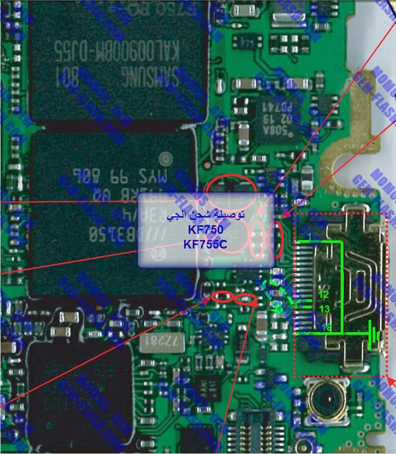 kf750  ممكن مسارات شحن كونيكتور