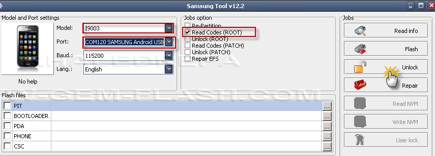 فك شفرة  samsung  i9003