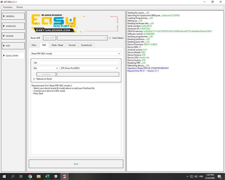 ZTE Z981 z max pro frp reset