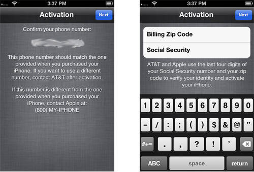 AT&T iPhone Activation Data Service (Billing Zip Code+SSN Info)