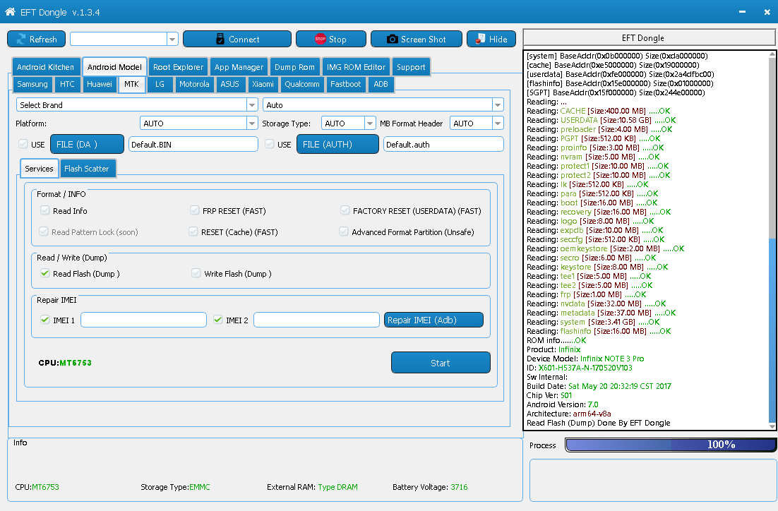 Read flash dump and hard reset user data infinix note 3 pro