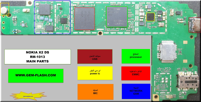 شروحات : اعطال ومسارات نوكيا NOKIA X2 RM-1013 DS حصريا علي